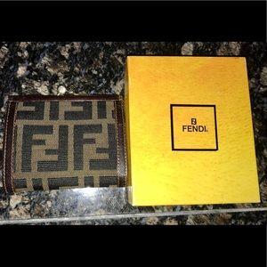 Fendi Vintage Zucca Kisslock Wallet with Box